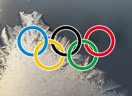 ice crystals and olympics symbol